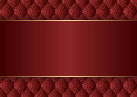 red background with vintage pattern and golden border