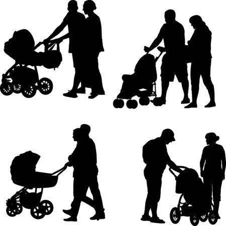 Silhouette of parents with stroller on white