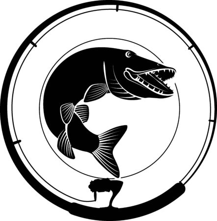 Fishing badge with pike fish and fishing rod