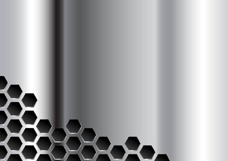 Perforated Polished Plate. Metal Grate Background Vettoriali