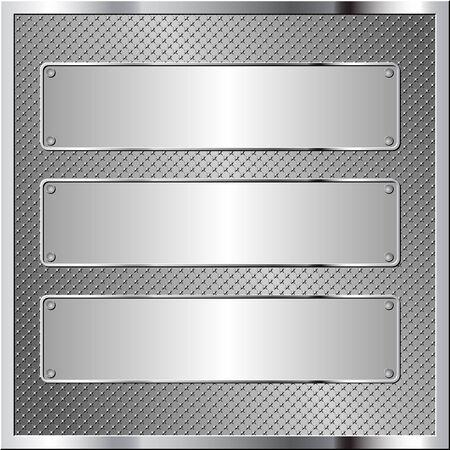 metallic background with three metal plaque