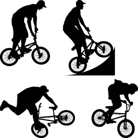 boy silhouettes on BMX bicycle