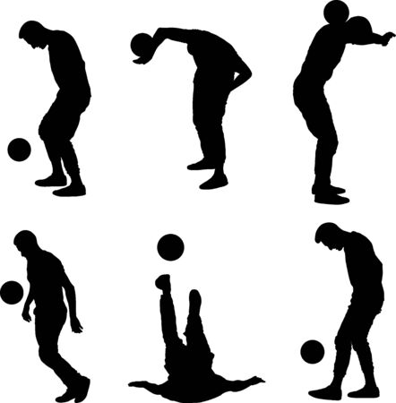boy silhouette juggling the soccer ball 