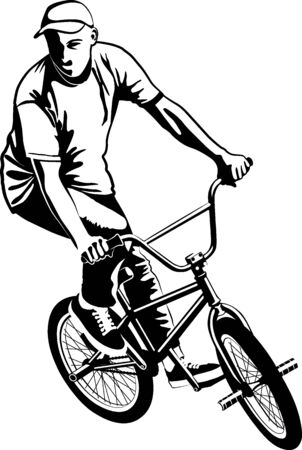 Male on BMX bike in black and white vector illustration