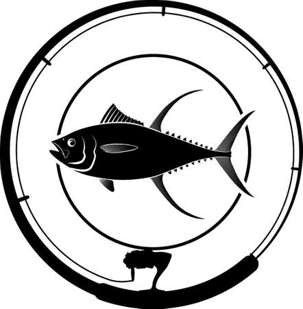fishing badge with tuna fish and fishing rod