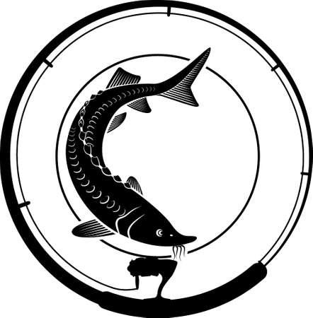 fishing badge with sturgeon fish and fishing rod