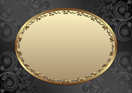 black background with floral pattern and golden frame Иллюстрация