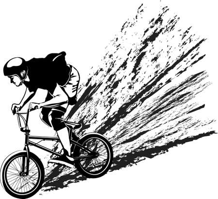 male on BMX bike - black and white vector illustration