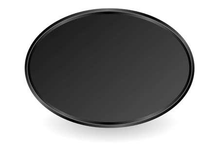black oval plate on white background Иллюстрация