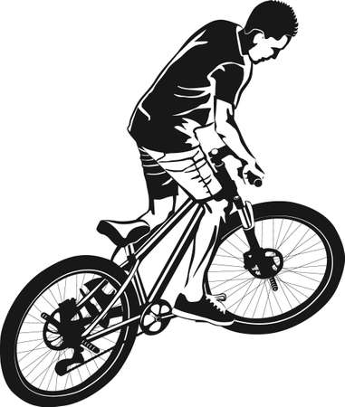 male on MTB bike - black and white vector illustration Иллюстрация