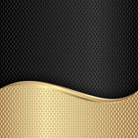 golden and black 3D abstract background Иллюстрация