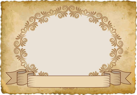 old paper with vintage frame and ribbon Иллюстрация