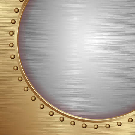 Golden And Gray Textured Metal Board With Rivets Иллюстрация