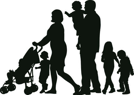Family with many children silhouettes