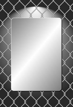 metal plaque on wire mesh background Иллюстрация