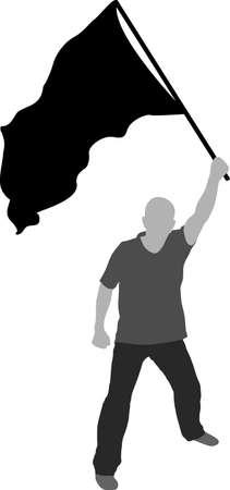 silhouette of man waving black flag