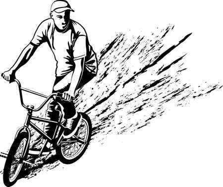 black and white vector illustration of cyclist