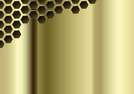 Golden Perforated Polished Plate. Metal Grate Background