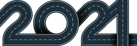 numbers of 2021 year in shape road