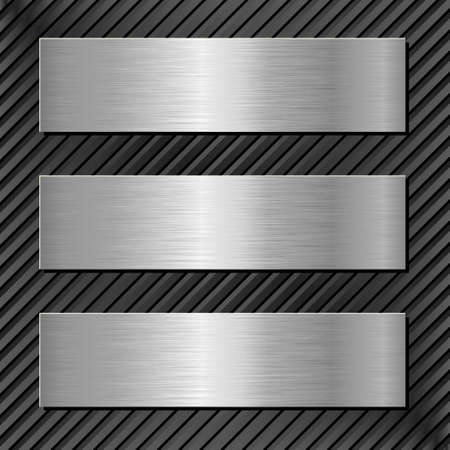 three metallic banners on black background Vector Illustration