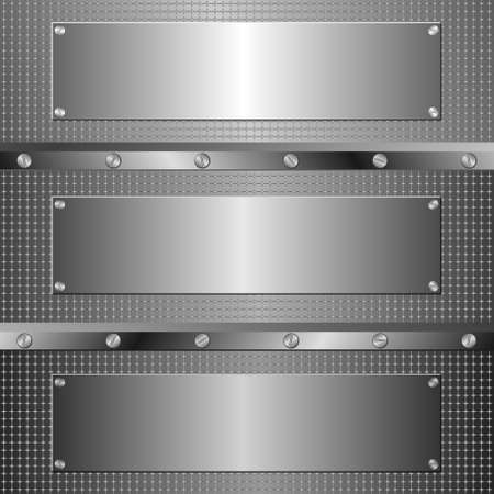 three metal banners on textured background