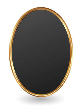 black plate with golden frame on white background