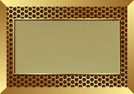golden metallic textured background, metal frame