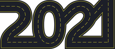 numbers of 2021 year in shape road with yellow lines separating traffic directions