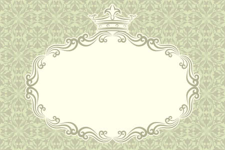 vintage background with decorative frame and crown