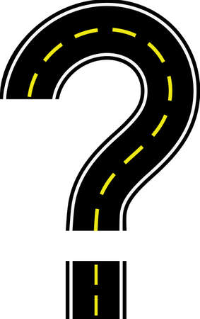 road in shape question mark with yellow line separating traffic directions