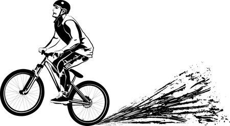 black and white vector illustration of mountain biker 일러스트