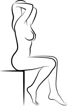 Sketch of Naked Woman Touching Her Hair