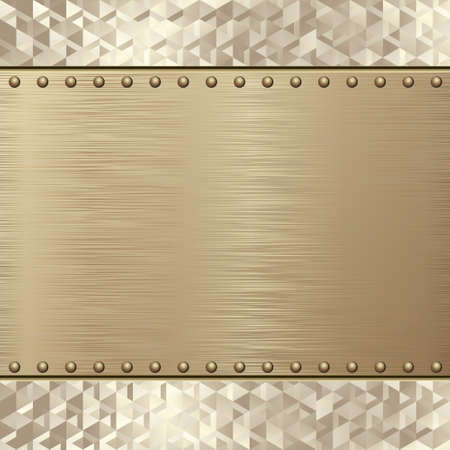 Golden Textured Metal With Rivets And Geometric Pattern