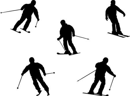 skiers silhouettes