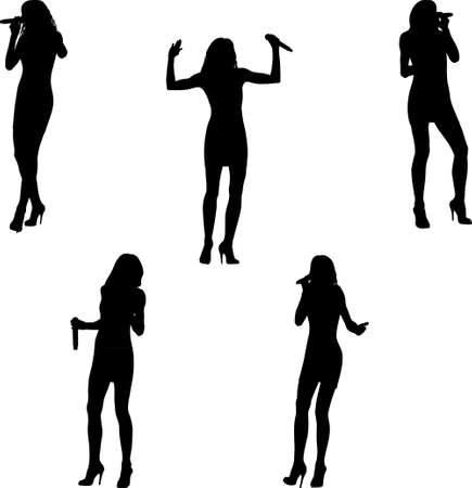 singing woman in mini dress silhouettes