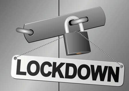 "door padlocked and plaque with inscription ""lockdown"""