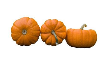 Front, side and bottom view of gourds, isolated on white