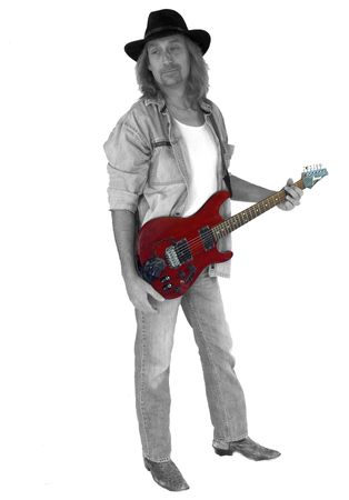 Black and White Image with Red Guitar  Archivio Fotografico