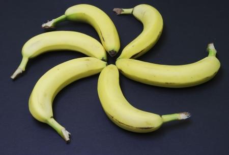 Ripe bananas arranged in a circle