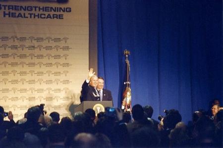Università di scranton pa, 17 gennaio 2003, il Presidente bush il discorso sulla sanità  Archivio Fotografico - 7007414