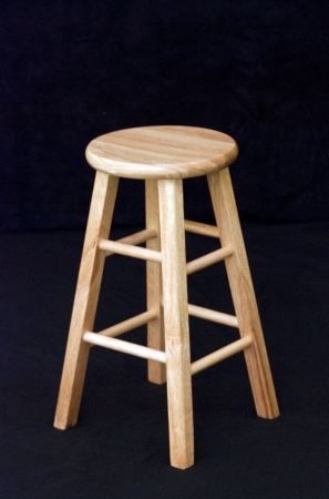 stools: Wooden stool on black background