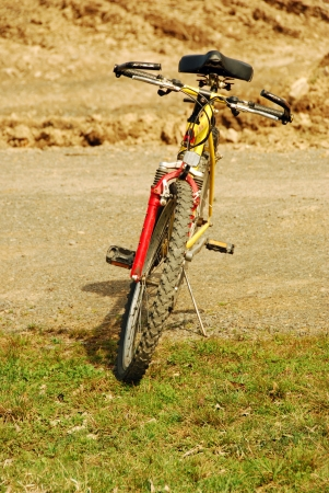 front view of bicycle with no one on it