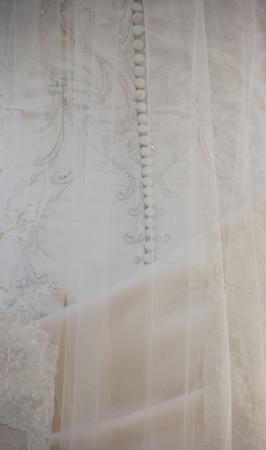 Bridal gown close up through veil  Archivio Fotografico