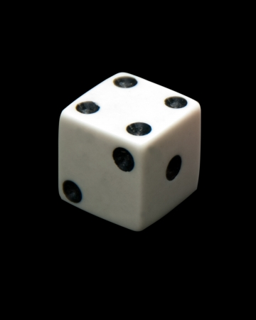 integer: one dice on black backgroung