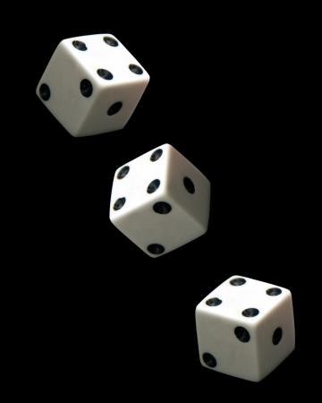 three dice on black background  Archivio Fotografico