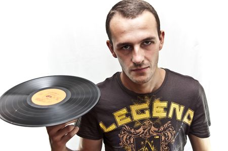 DJ with Vinyl Stock Photo