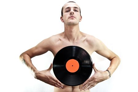 nude dj with vinyl Stock Photo