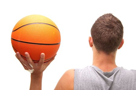basketball player with ball, isolated on white, simmilar images in my portfolio
