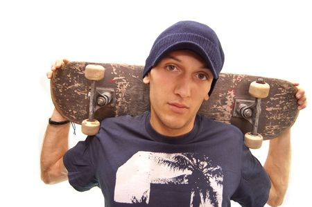portrait of an cool skater with his board photo