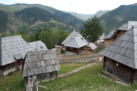 photo of a very old village in the mountains of serbia Stock Photo